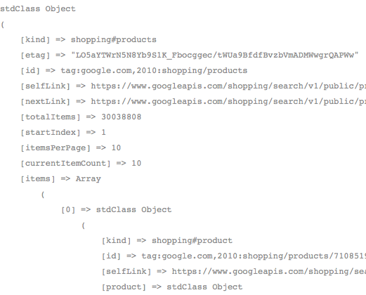 Comment utiliser l'API de Google Shopping en PHP - Résultat des produits reçus après transformation JSON