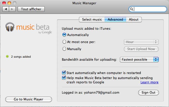 J'expérimente Google Music ! - Paramètres avancés