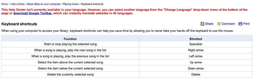 J'expérimente Google Music ! - Raccourcis clavier