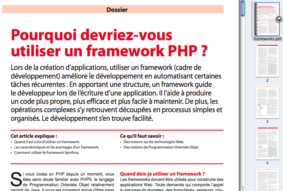 PHP Solutions : Juin 2011 – Frameworks en PHP - Publication sur le Framework