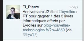 Résultat concours J2 : Trois livres informatiques offerts par Éditions Eyrolles - Vainqueur Twitter Eyrolles - Commentaire