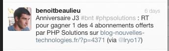 Résultat concours J3 : Quatre abonnements au magazine PHP Solutions - Vainqueur Twitter PHP Solutions - Commentaire