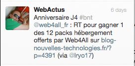 Résultat concours J4 : 12 packs hébergement haute sécurité et domaines offerts par Web4All - Vainqueur Twitter Web4All