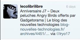Résultat concours j7 : Deux peluches Angry Birds et un Kdo Geek offerts par Gadgetorama et Kdo-USB - Vainqueur Twitter - Commentaire