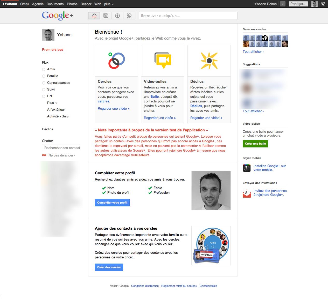 Débuter avec Google+, voici votre guide complet - Écran d'accueil Google+