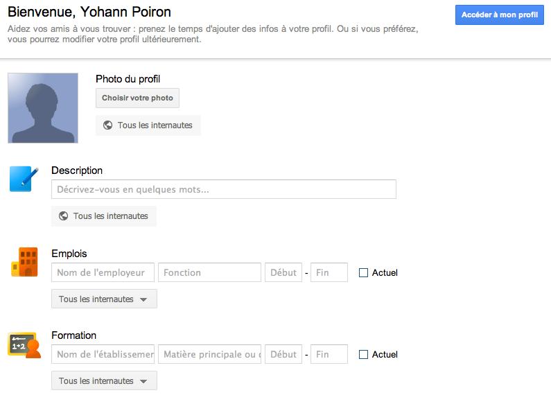 Débuter avec Google+, voici votre guide complet - Création profil Google+