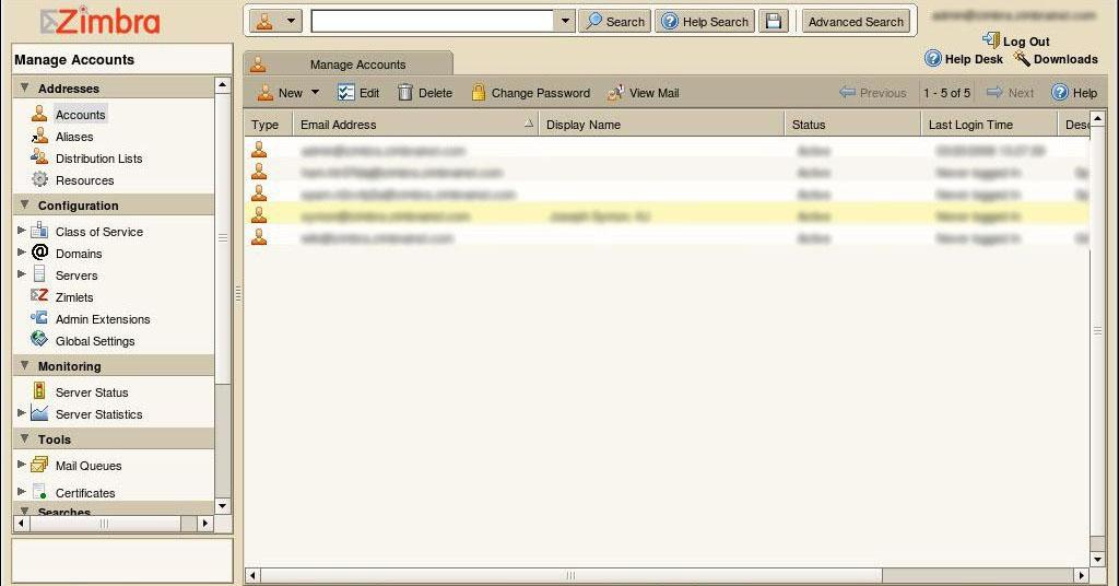 Des webmails basés sur l'AJAX et PHP afin d'améliorer l'expérience utilisateur - Grand format sur Zimbra - Vue administration Zimbra