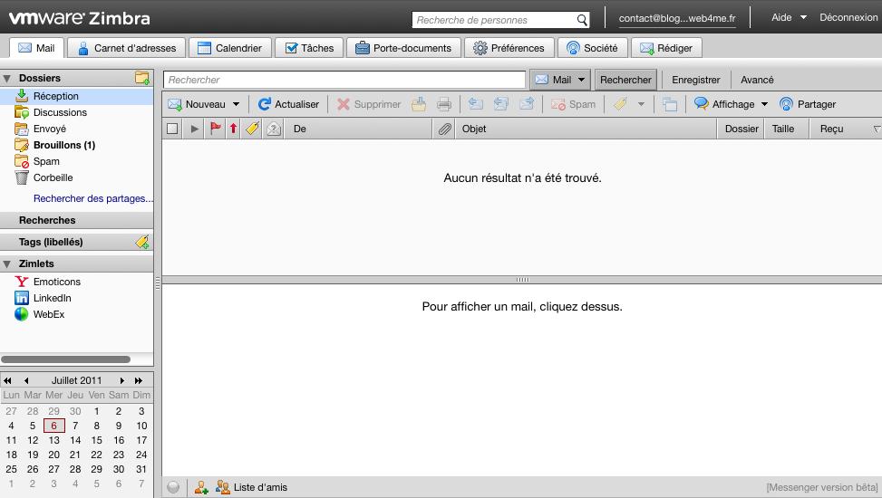 Des webmails basés sur l'AJAX et PHP afin d'améliorer l'expérience utilisateur - Grand format sur Zimbra - Vue Zimbra