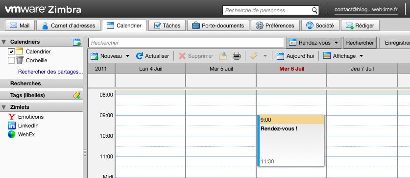 Des webmails basés sur l'AJAX et PHP afin d'améliorer l'expérience utilisateur - Grand format sur Zimbra - Accès calendrier Zimbra