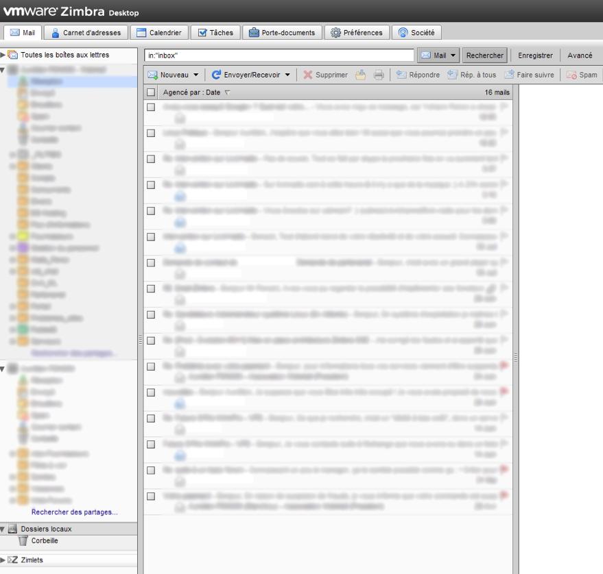 Des webmails basés sur l'AJAX et PHP afin d'améliorer l'expérience utilisateur - Grand format sur Zimbra - Client lourd Zimbra