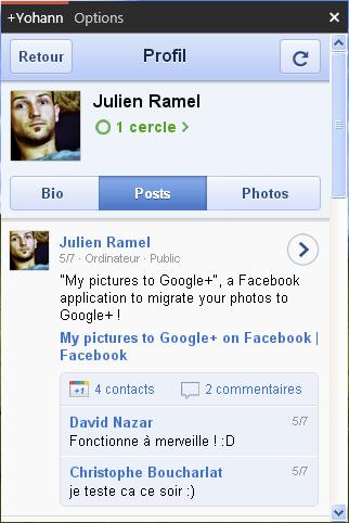 Gclient : Le premier client desktop de Windows pour Google+ - Profil