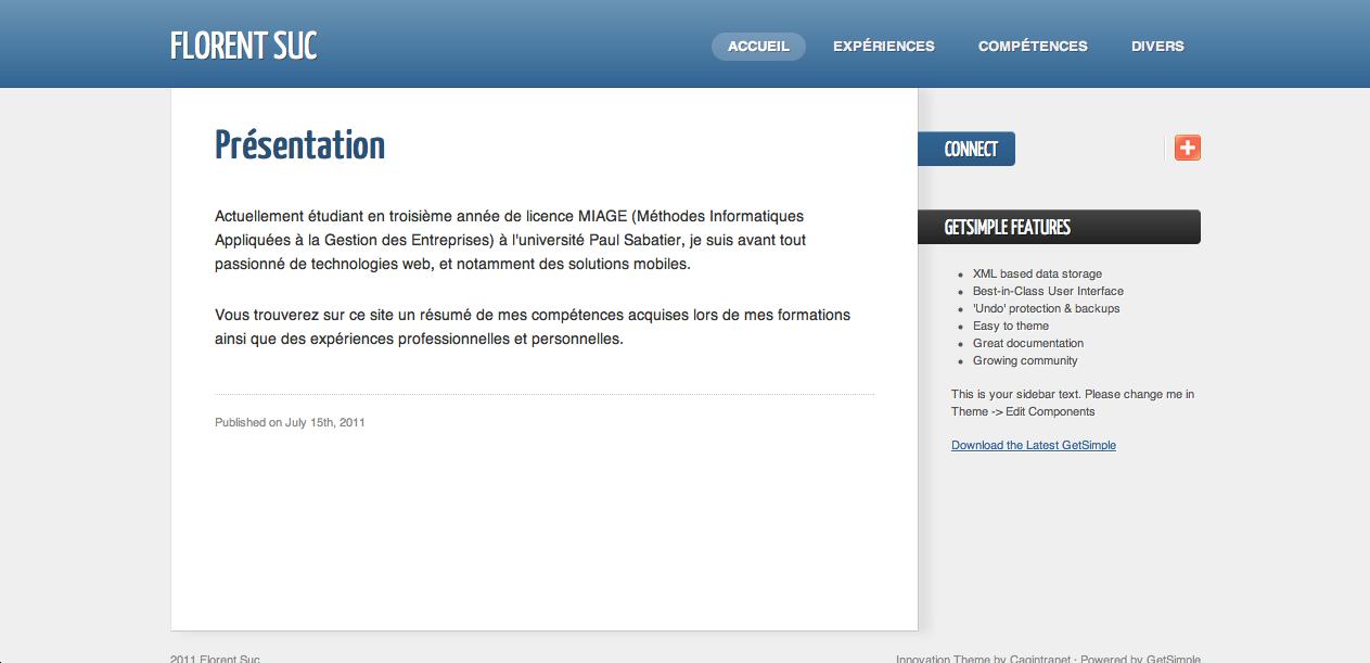 GetSimple, un CMS ultra-léger basé sur XML - Aperçu de la partie front-end de GetSimple