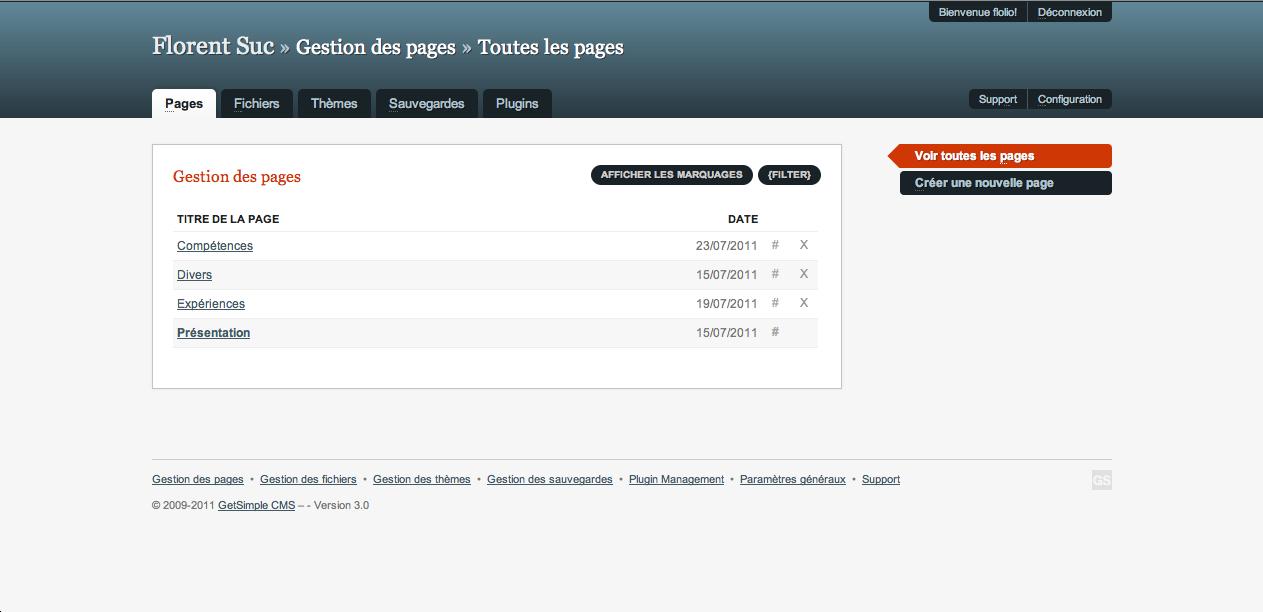 GetSimple, un CMS ultra-léger basé sur XML - Gestion des différentes pages