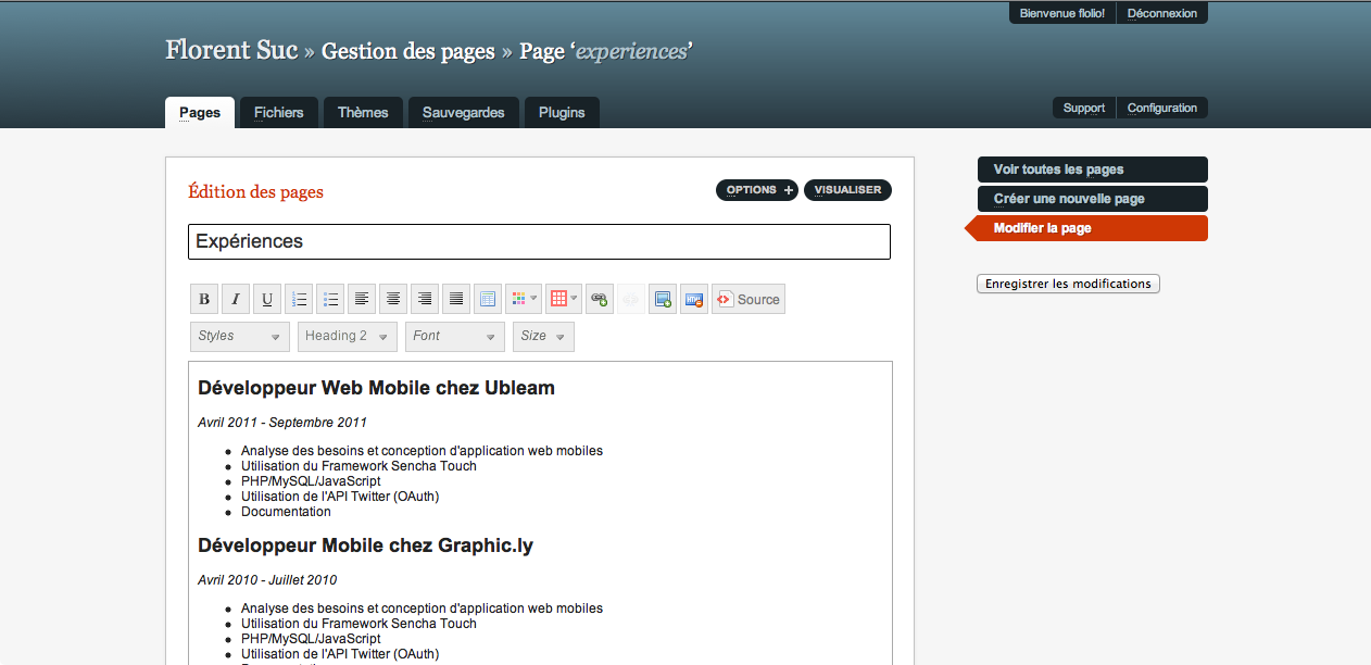 GetSimple, un CMS ultra-léger basé sur XML - Modification d'une page avec l'éditeur CKedit