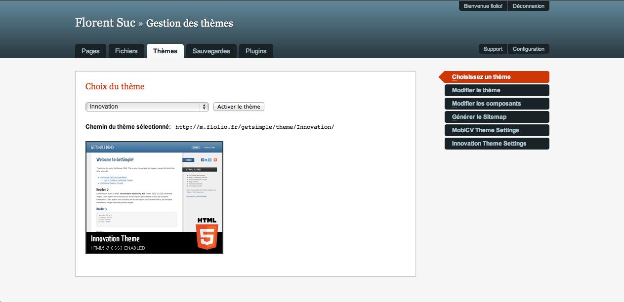 GetSimple, un CMS ultra-léger basé sur XML - Gestion des thèmes