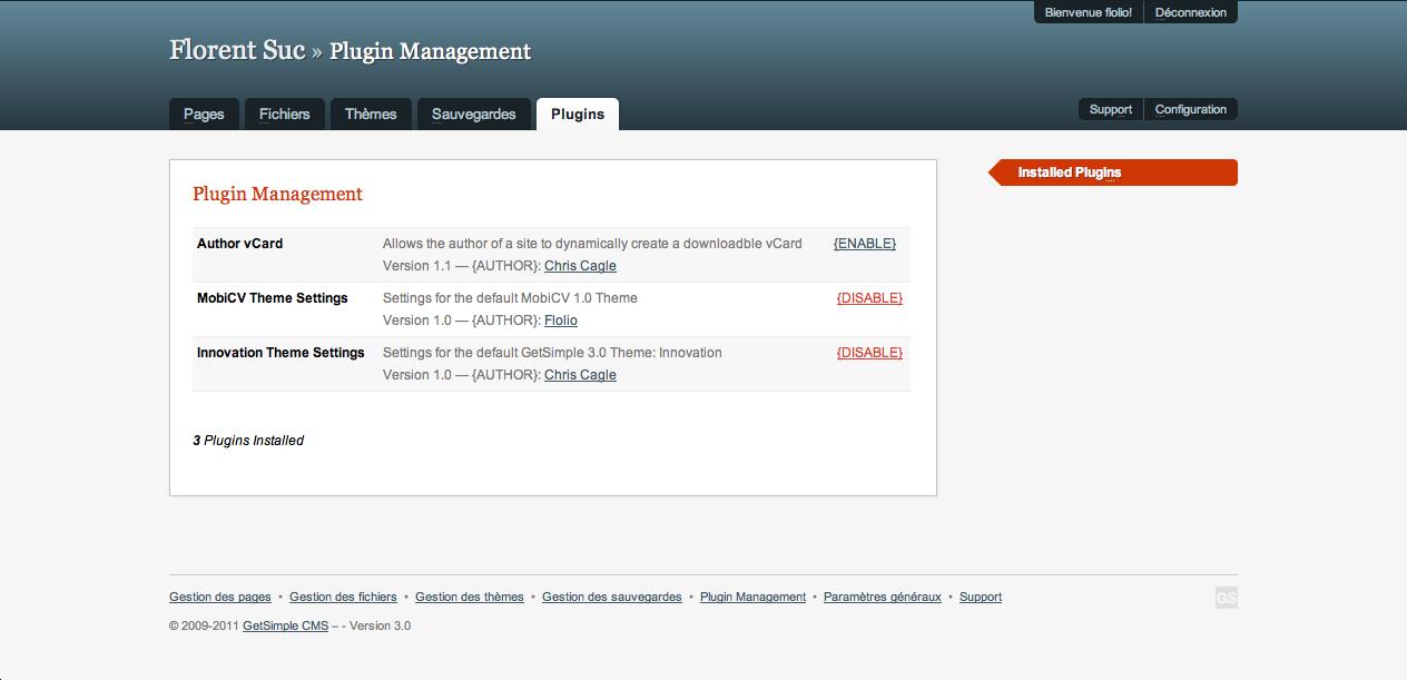 GetSimple, un CMS ultra-léger basé sur XML - Gestion des plugins