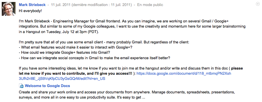 Google affirme qu'une intégration de Google+ dans Gmail est en cours - Striebeck Mark