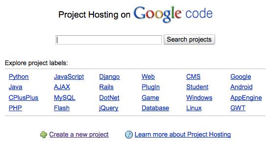 Google Code annonce son support à Git - Création projet Google Code