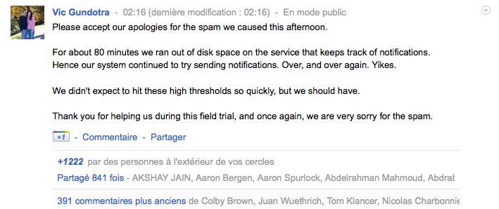 Google+ inonde de spams ses utilisateurs - Vic Gundotra