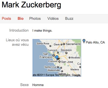 Google+ vs. Facebook : Quel réseau social va gagner ? - Profil Mark Zuckerberg