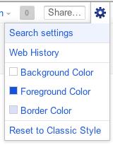 Redonner la couleur blanche à la barre de navigation de Google - Options dans le menu Google