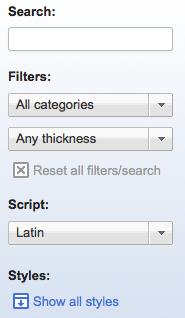 Utiliser Google Web Fonts sur votre ordinateur ou votre site Web - Filtres de recherche