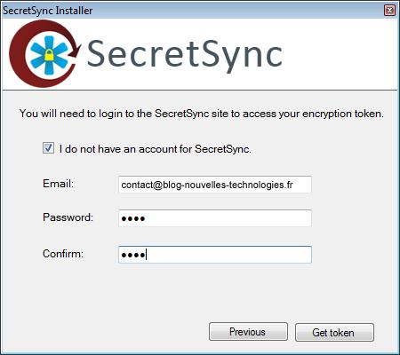 Utiliser SecretSync afin de protéger vos fichiers sensibles sur Dropbox - Inscription à SecretSync