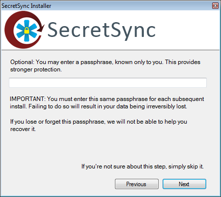 Utiliser SecretSync afin de protéger vos fichiers sensibles sur Dropbox - Passphrase dans SecretSync