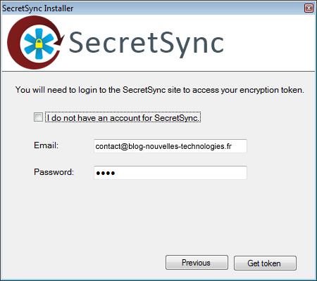 Utiliser SecretSync afin de protéger vos fichiers sensibles sur Dropbox - Connexion à SecretSync
