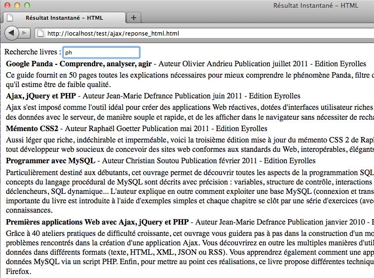 Afficher des résultats instantanés en utilisant jQuery, XML et PHP - Quelques lettres tapées dans le champ de recherche
