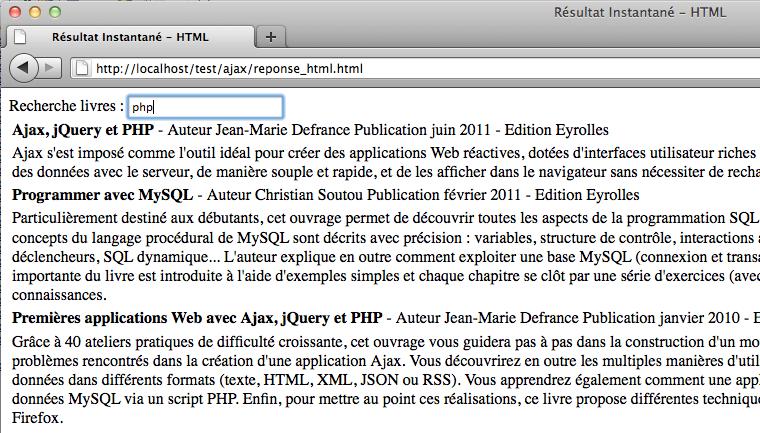 Afficher des résultats instantanés en utilisant jQuery, XML et PHP - Après avoir complété la recherche