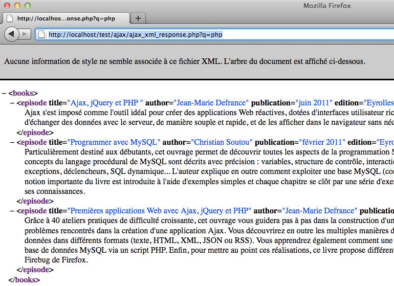 Afficher des résultats instantanés en utilisant jQuery, XML et PHP - La page de réponse XML