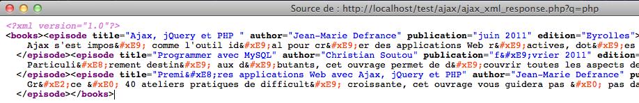 Afficher des résultats instantanés en utilisant jQuery, XML et PHP - La source XML de la page