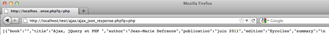Afficher des résultats instantanés en utilisant jQuery, XML et PHP - La page de réponse JSON
