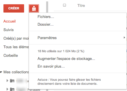 Au tour de Google Docs d'adopter la nouvelle interface de Google - Bouton Importer
