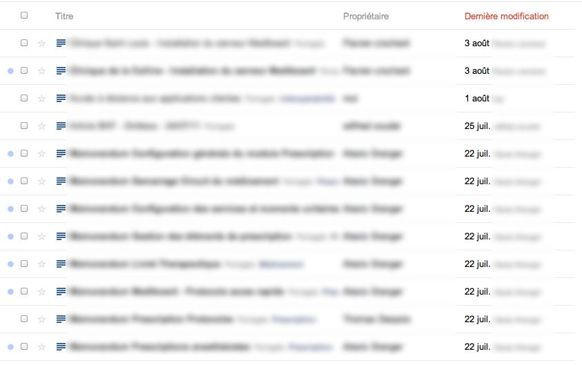 Au tour de Google Docs d'adopter la nouvelle interface de Google - Liste des fichiers