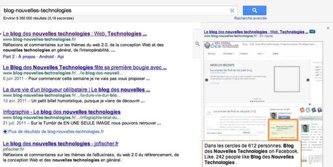Google teste une interface épurée avec une nouvelle prévisualisation des sites - Nouvelle prévisualisation des sites sur Google