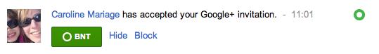 Google+ vous indique qui a accepté de devenir votre ami