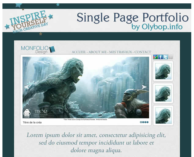 Template pour un Portfolio single Page