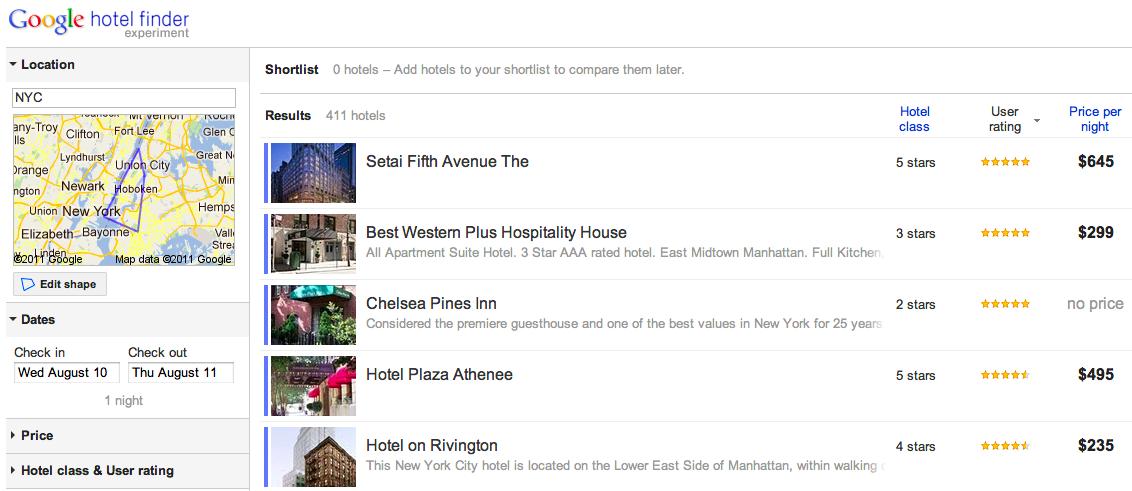 Google propose un moteur de recherche pour hôtel