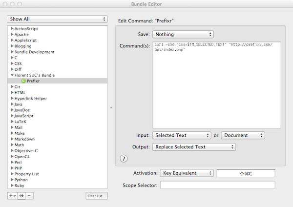 Prefixr, rendez compatible votre CSS sur tous les navigateurs ! - Intégration de TextMate