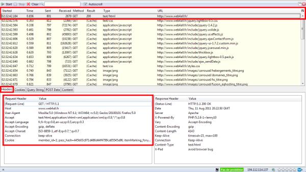 Qu'est-ce que le protocole HTTP ? Analyse et explications - Copie écran HTTPFox Headers
