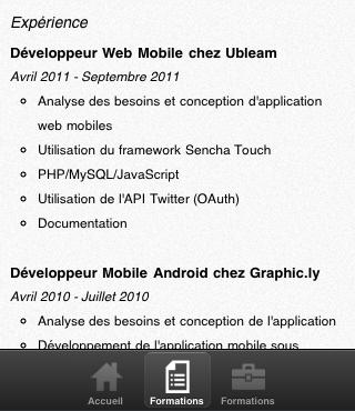 Sencha Touch, introduction aux panels - CV Mobile - Page des expériences