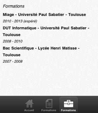 Sencha Touch, introduction aux panels - CV Mobile - Page des formations