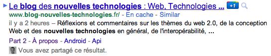Vers un nouvelle affichage des résultats de recherche de Google ? - Affichage des anciens sitelinks
