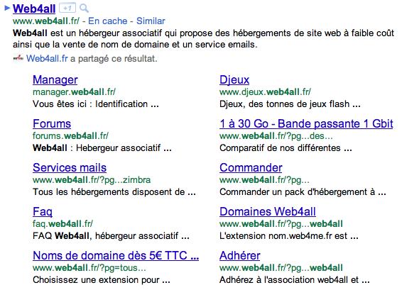 Vers un nouvelle affichage des résultats de recherche de Google ? - Affichage des nouveaux sitelinks