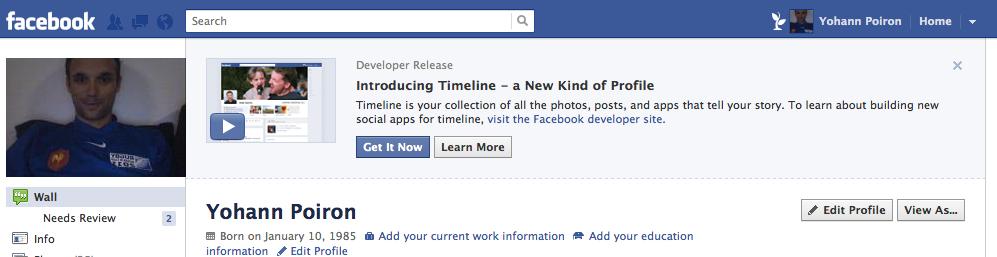 Comment activer la nouvelle 'Timeline' de Facebook ? - Invitation à essayer la timeline de Facebook