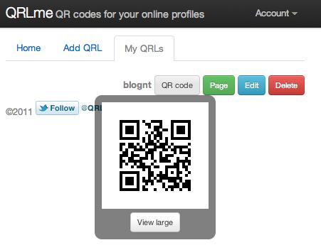 Créer le QRCode de votre profil des réseaux sociaux à l'aide de QRLme - Affichage du QRCode