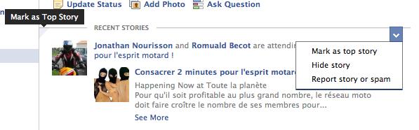 Facebook change l'affichage de vos publications depuis le fil d'actualité - Top Story