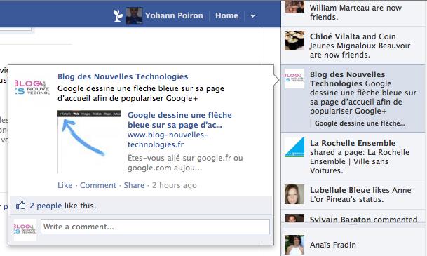 Facebook change l'affichage de vos publications depuis le fil d'actualité - Détail du flux
